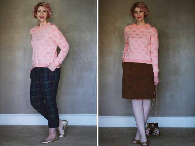 A heart printed pink sweatshirt is worn for a day to night outfit on Valentine's Day.