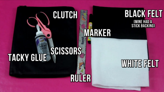 Supplies to make your own piano keyboard clutch, purse, wallet, etc.