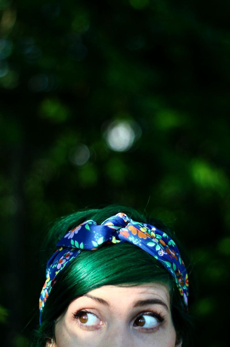 Phantom Green by Arctic Fox hair dye and blue floral head scarf