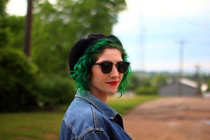 Ferris Bueller's Day Off movie inspired outfit: vintage denim jacket, black beret, black sunglasses, red lipstick, green hair