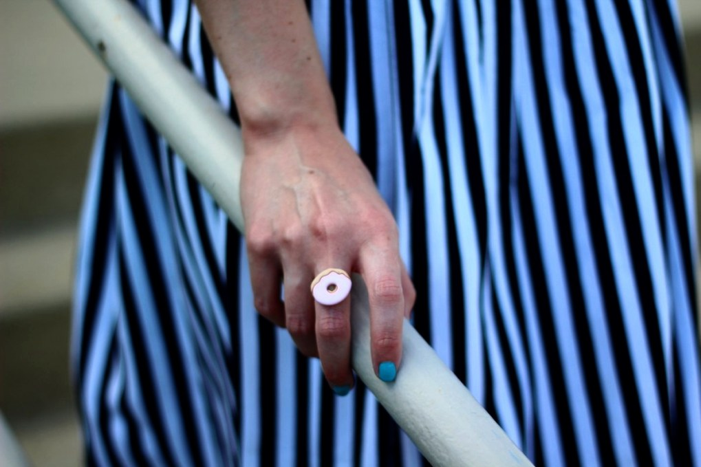 Outfit details: black and white striped skirt, DIY pink donut ring