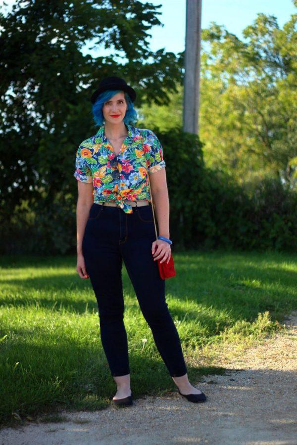 Outfit: Hawaiian print shirt, high waisted dark wash jeans, small red purse, NYX red lipstick, blue hair, black pork pie hat, black flats