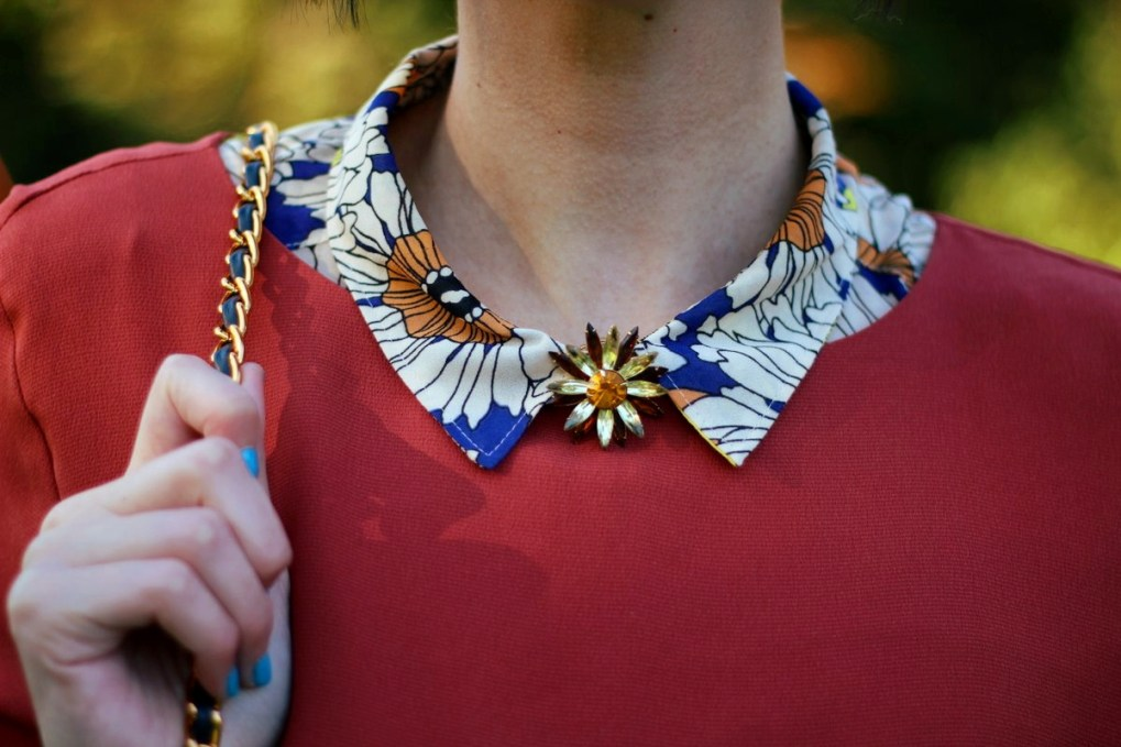 Outfit details: Orange retro style dress, floral collar, jewel flower brooch