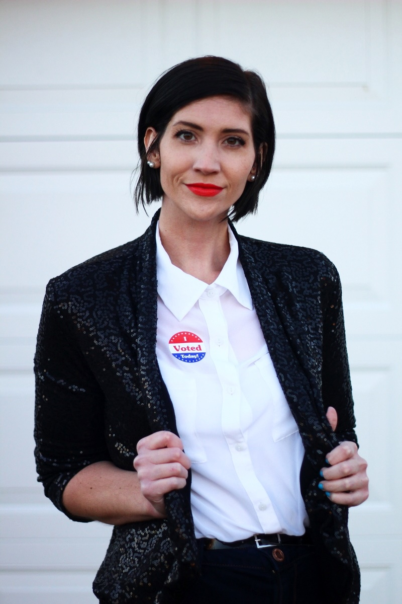 Election day outfit: white button up, red lipstick, I Voted sticker, black sequined blazer,