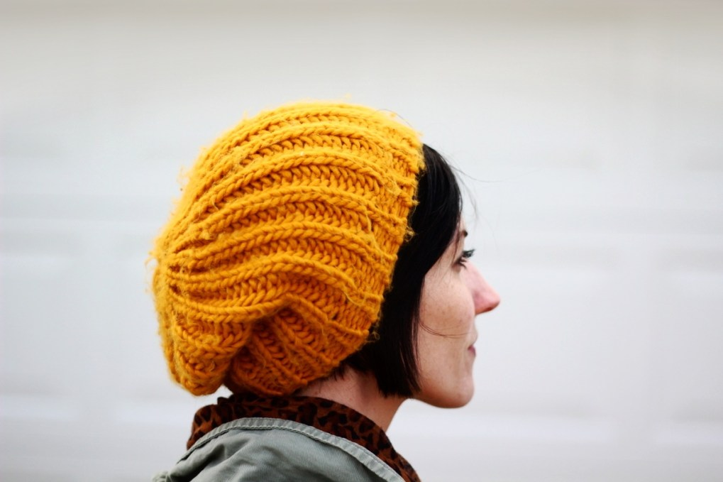 Outfit details: slouchy knit mustard yellow hat