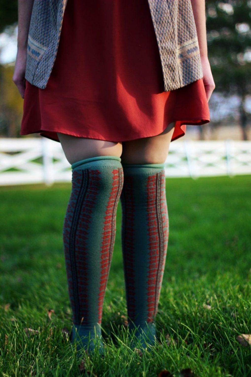 Outfit: Orange dress, otk colorful socks, brown flats