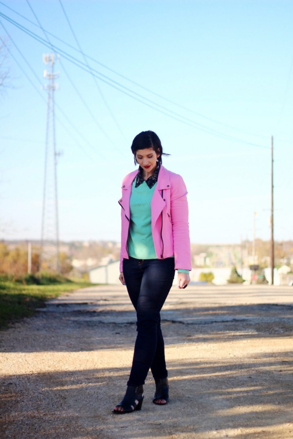 Outfit: Floral collar top, mint green sweater, bright pink jacket, dark lipstick, high waisted dark wash jeans, black cut out high heels