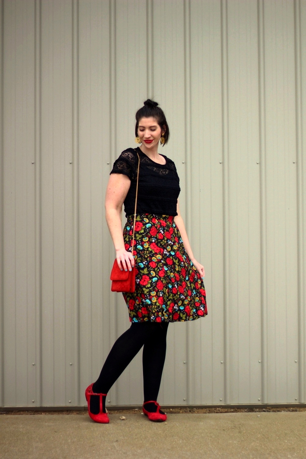 Black lace top, thrifted floral skirt, Revlon Really Red lipstick, vintage gold lion head earrings, black We Love Colors tights, red purse, red ballet flat shoes
