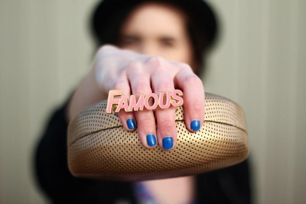 Thrifted ASOS floral dress, black moto jacket, fushia lipstick, ASOS pork pie hat, DIY choker, DIY clutch, orchid pink We Love Colors tights, vintage teal flats