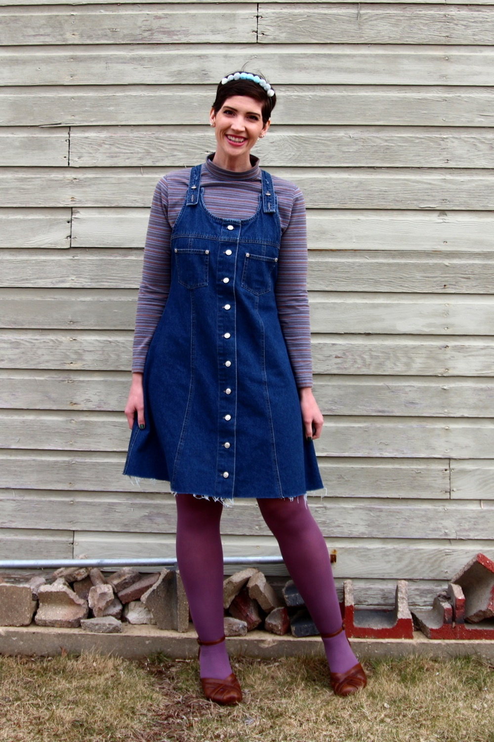Hannah Rupp, The Outfit Repeater, Thrifted striped turtleneck, denim overall jumper dress, DIY pom pom headband, We Love Colors mocha tights, thrifted brown platform shoes
