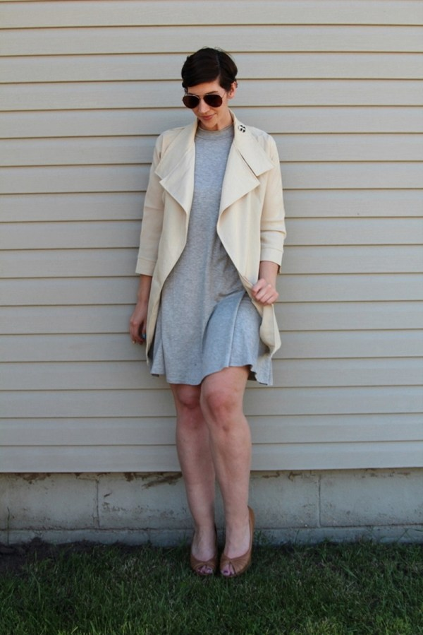 board game party night outfit grey dress beige trenchcoat aviator sunglasses dollar tree high heels spy undercover secret agent costume