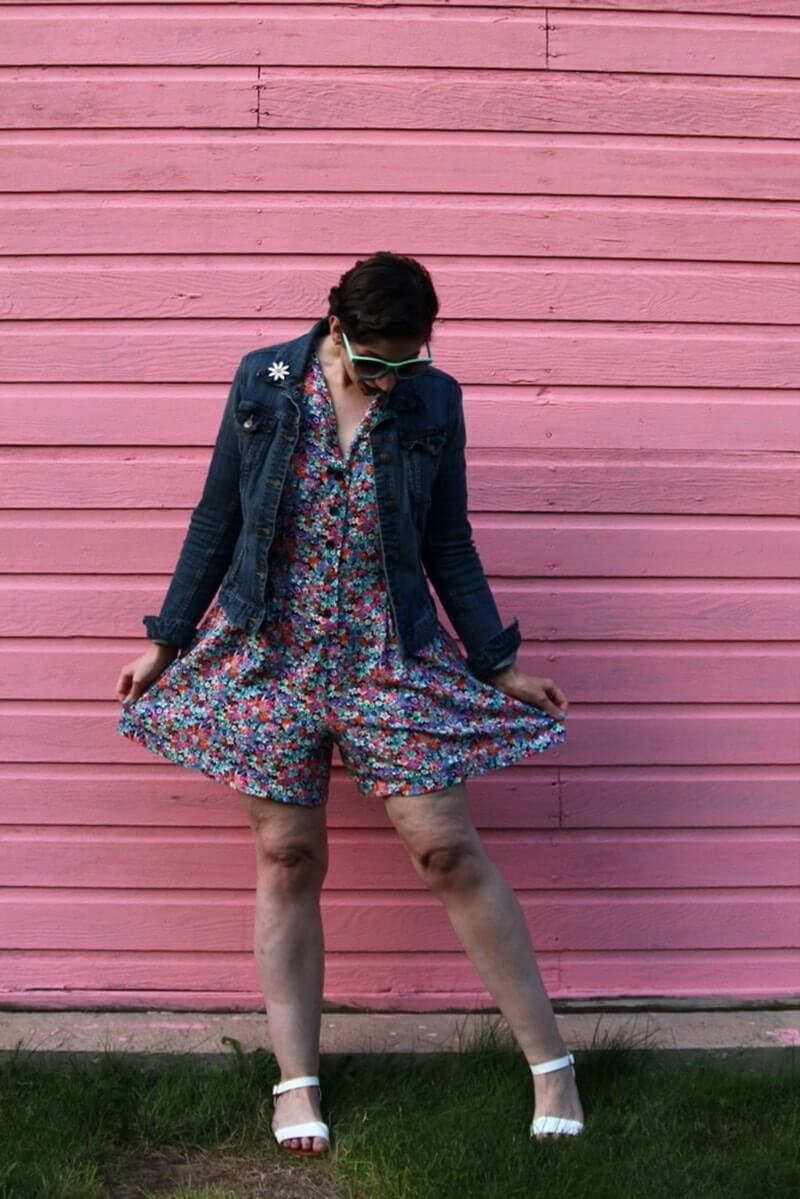 Floral romper, thrifted denim jacket, flower enamel pin, white Lulus sandals, sea foam green sunglasses, Colourpop lippie stix Heart On