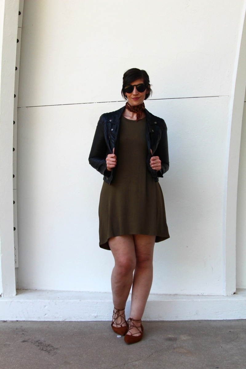 fast fashion shop Tobi dress review Green 3/4 sleeve dress, black cat eye sunglasses, H&M black leather jacket from thredUP, vintage leopard print scarf, thrifted Target lace up flats, Colourpop lippie stix Contempo