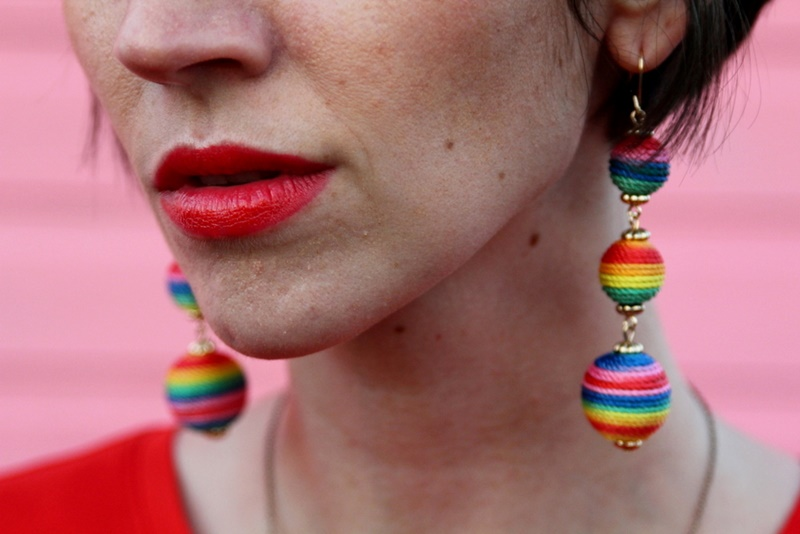 colorful outfit hannah rupp rainbow string earrings walmart clearance sale bargain jewelry accessory