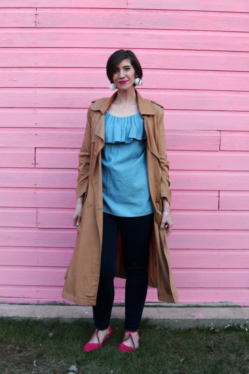 the outfit repeater hannah rupp double denim chambray blouse dark wash skinny jeans pink flats fuchsia lipstick who what wear trench coat target thrifted women's affordable style budget friendly