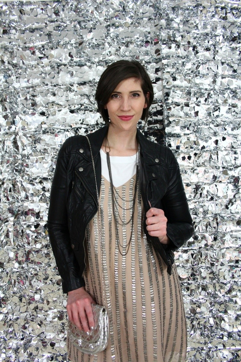 the outfit repeater hannah rupp dress over pants sequin dress day to night holiday new years eve moto jacket thrifted style