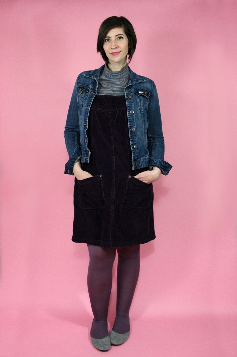 hannah rupp the outfit repeater winter wardrobe capsule challenge purple pink thrifted