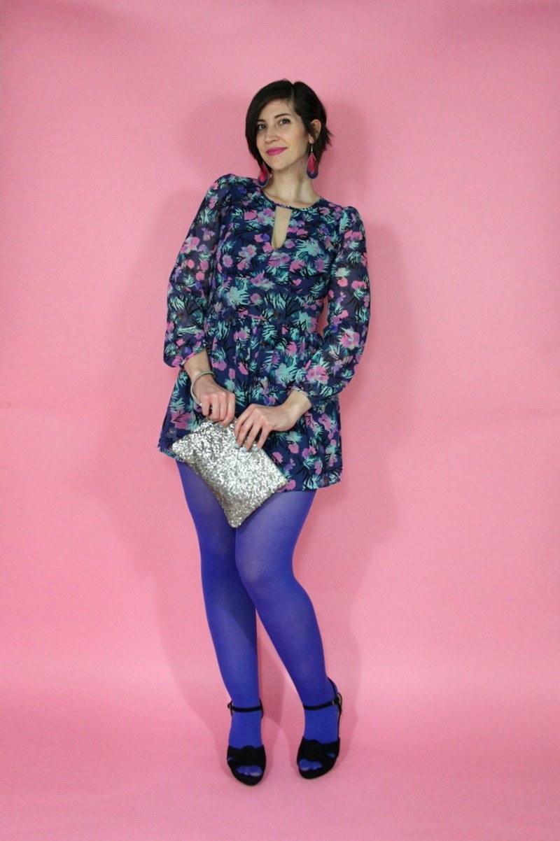 hannah rupp the outfit repeater galentine's day outfit celebrate inspiration idea purple tights romper swap.com thrifted secondhand consignment