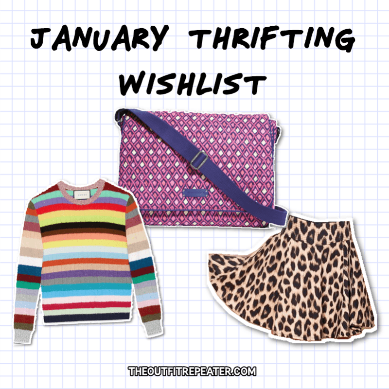 Colorful January Monthly Thrift Haul + February Thrifting Wishlist the outfit repeater hannah rupp