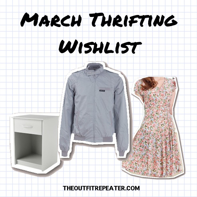 february monthly thrift haul video march thrifting wishlist hannah rupp the outfit repeater