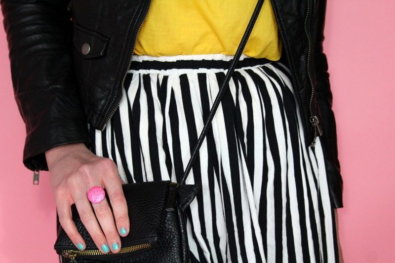Vintage striped skirt, yellow blouse, moto jacket, black flats, Colourpop lippie stix, small thrifted purse