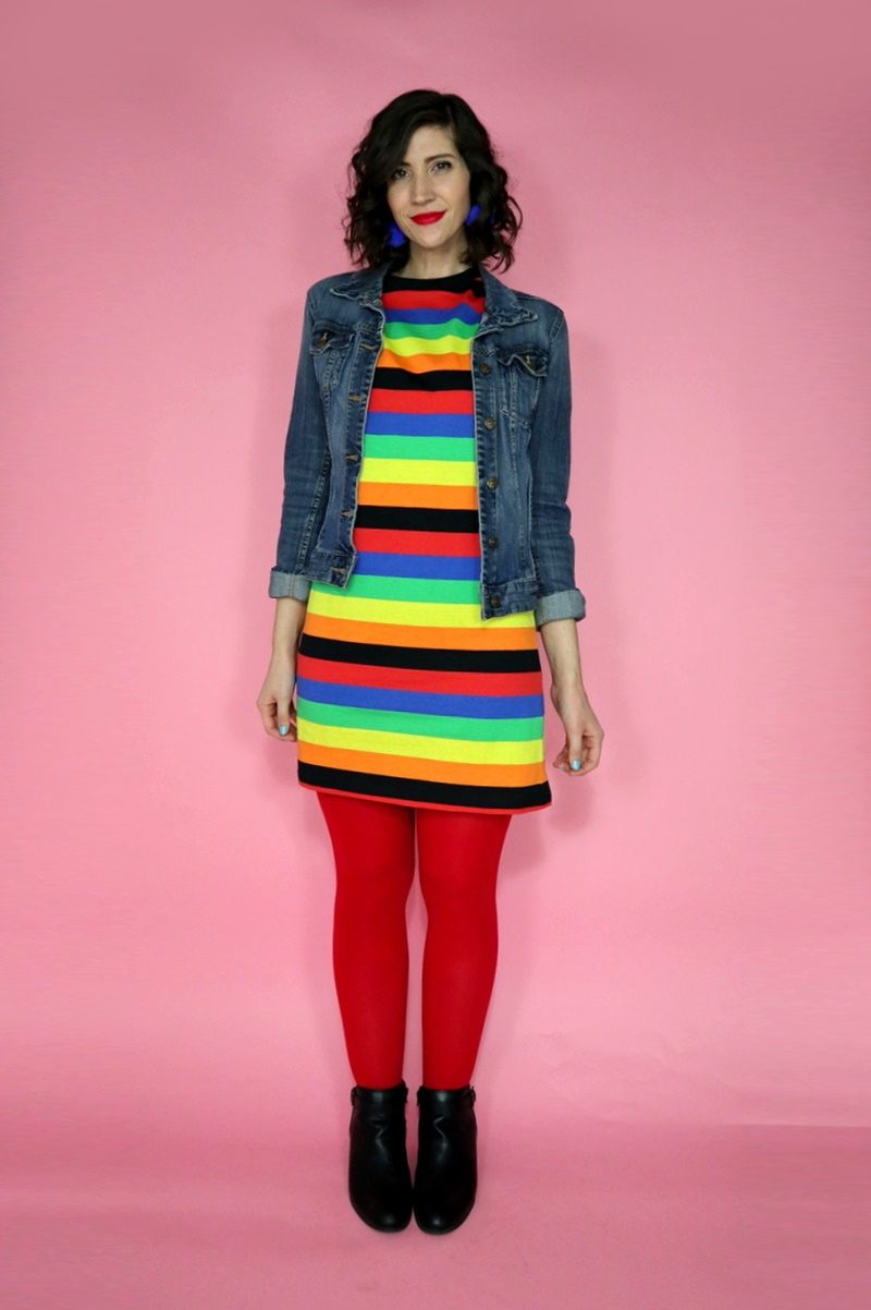 rainbow color outfit asos tshirt dress denim jacket red tights hannah rupp