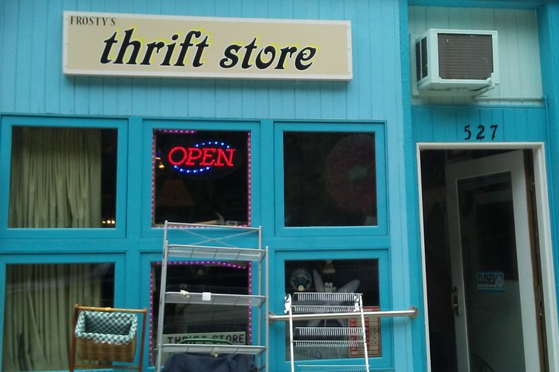 bright blue thrift store building front