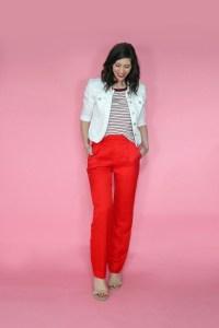 november thrift haul red pants