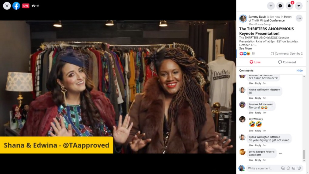 screenshot of shana and edwina of thrifters anonymous at Heart of Thrift Conference 2020
