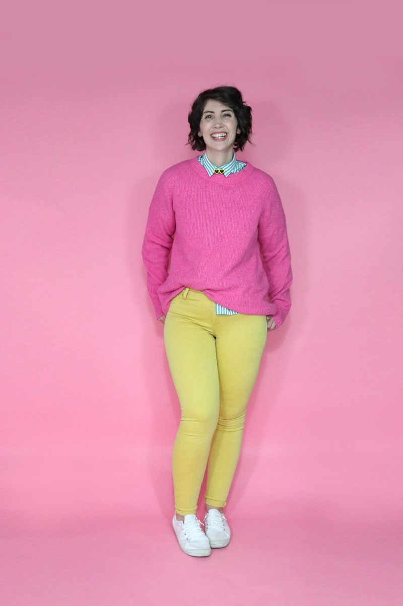 best thrifted clothes pink sweater yellow pants outfit