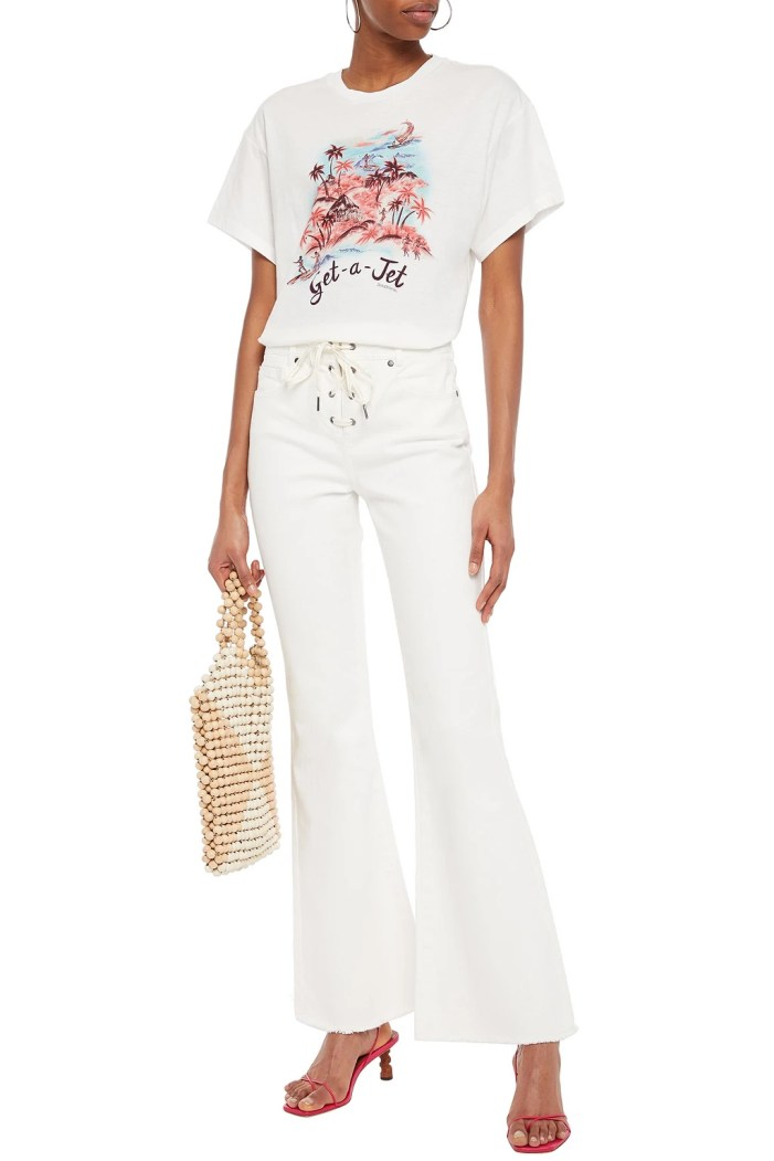 ZIMMERMANN Goldie lace-up high-rise flared jeans