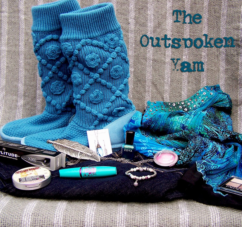 For this look, I started out with the cozy, warm blue Bearpaw sweater boots. These are knitted on top with a sturdy suede bottom to cradle your feet in ultra comfort and style. I added a dark blue Denizen jean, it's almost a black and helps balance the rest of the look.