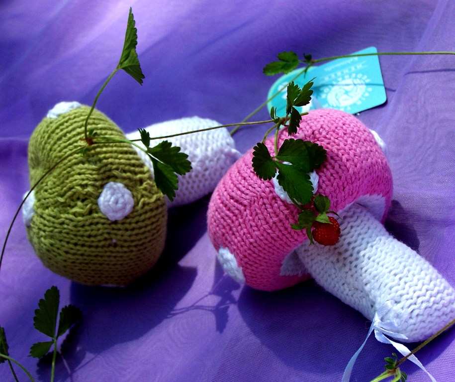 babies, kids, toys, soft toys, rattles, learning, handmade, gifts, shopping, mushrooms, knitting, free trade,