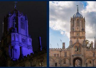 Christ Church Tom Tower lit up blue