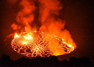 A photo of Mount Nyiragongo's glowing, smoking lava lake during the recent eruption