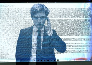 Spy in tuxedo against a backdrop of computer code. Illustration by Khadijah Ali