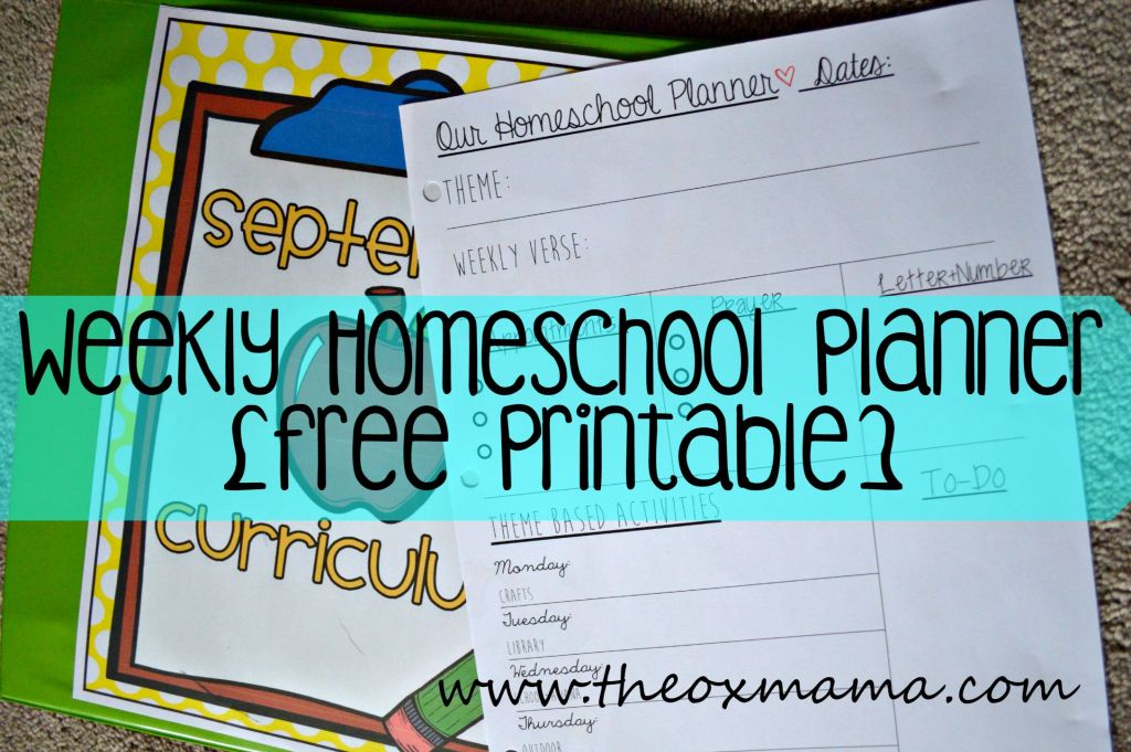 Weekly Homeschool Planner {FREE Printable} - A free printable to help schedule your homeschool/tot school week with daily activities and to do list | theoxmama.com