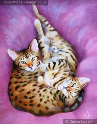 Toffee and Thistle a pair of Bengal cats painted on canvas