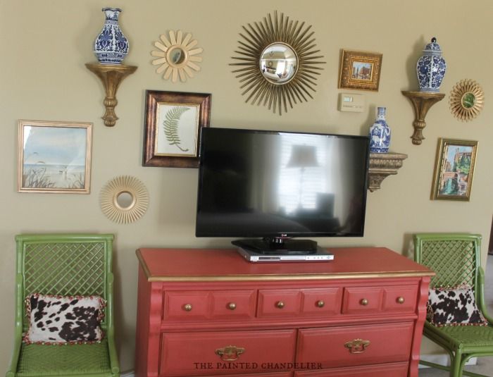 the painted chandelier blog master bedroom gallery wall - Painted Tv Consoles