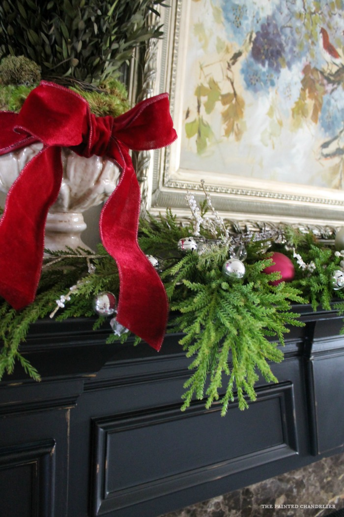 Living Room Mantle. Mantle Closeup Pink Bow Greenery Silver Ball Ornaments  Part 94