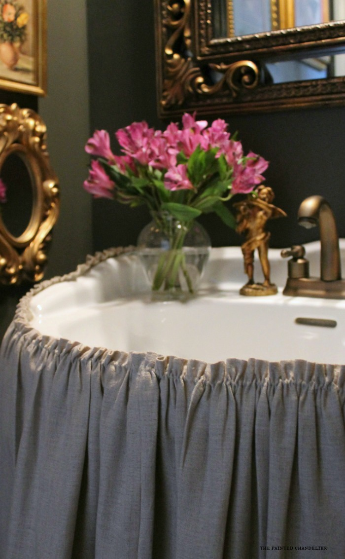 Gathered Linen Skirt Pedestal Sink New One Half