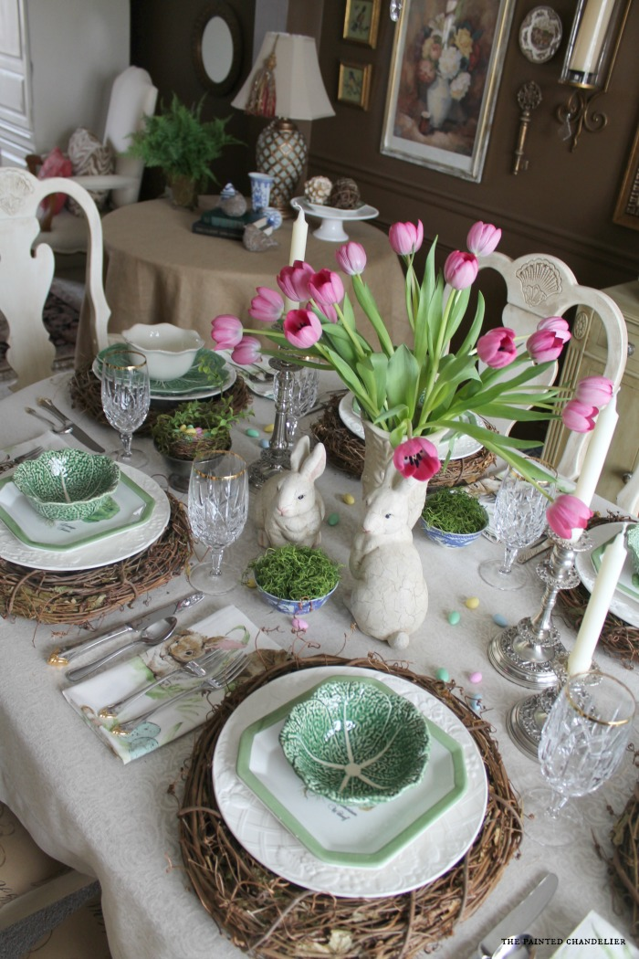 above-easter-table-cabbage-bowls & Pottery Barn Napkins Inspired Easter Table