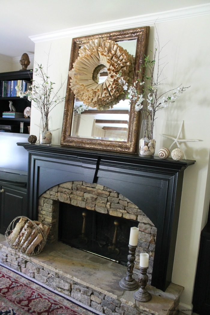mantle-with-giant-starfish-and-book-page-wreath
