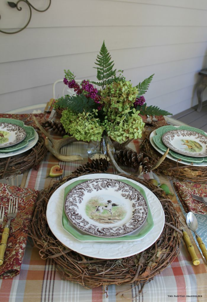 2 Different Fall Table Settings On A Southern Porch