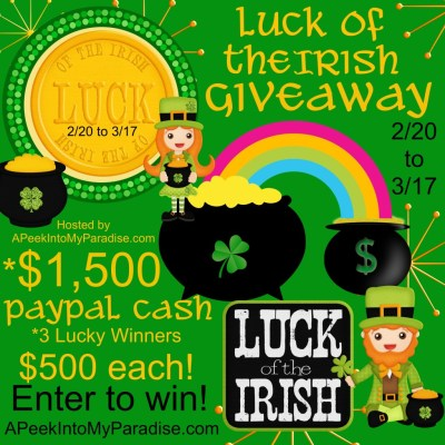 Luck Of The Irish Giveaway – Win $500 Cash!!!