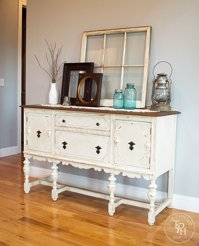 10 Deep Sideboard Buffet Table ~ Sideboard buffet hutch chalk paint makeover