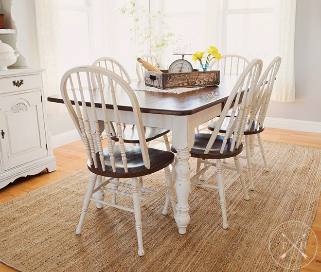Farmhouse Dining Room Table & Chairs Makeover
