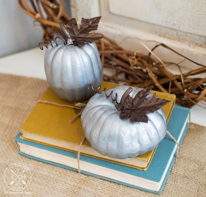 How To Makeover Dollar Store Pumpkins With A Faux Galvanized Metal Finish