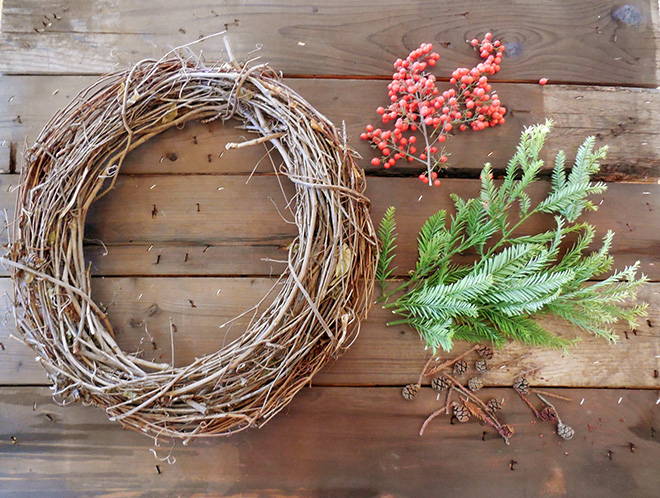 Make A Christmas Wreath Using Natural Elements