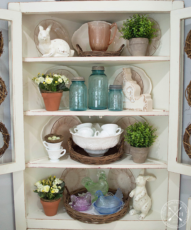 Farmhouse easter decor ideas the wicker basket set i bought at decor steals the distressed wooden bunnies plastic eggs and artificial floral sprigs i bought from hobby lobby negle Image collections